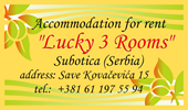 ''Lucky 3 Rooms'' - Accommodation for rent in Subotica (Serbia). Sponsor of our Site.
