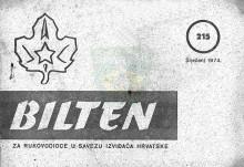 Naslovnica za ''Bilten za rukovodioce u Savezu izviđača Hrvatske'', broj 215 za sječanj 1974.godine