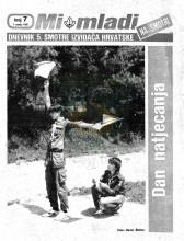 Naslovnica za izviđačke novine ''MI MLADI na Smotri'' - Dnevnik 5. smotre izviđača Hrvatske - broj 7, za 7. VII 1985. godine