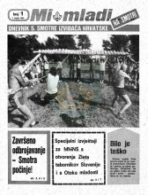 Naslovnica za izviđačke novine ''MI MLADI'' na Smotri - Dnevnik 5. smotre izviđača Hrvatske - br. 1, za 1. VII 1985. godine