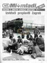Naslovnica za izviđačke novine ''MI MLADI'' na Smotri - Dnevnik 5. smotre izviđača Hrvatske - broj 2, za 2. VII 1985. godine