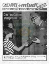 Naslovnica za izviđačke novine ''MI MLADI'' na Smotri - Dnevnik 5. smotre izviđača Hrvatske - br. 3, za 3. VII 1985. godine